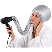 Bonnet Casco per Asciugatura Cuffia Asciugacapelli con Elastico per Attacco a Phon, Grigio