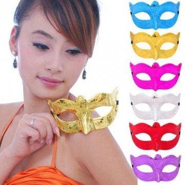 Hohe Qualität stilvolle Tanz Parteien schnitzen Muster Stil Augenmaske für Halloween - Blue