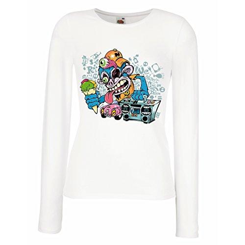 lepni.me Manches Longues Femme T-Shirt le Funky Monkey DJ - Années 80, 90, Musique Rétro, Lecteur de Cassettes, Mode de Rue Blanc Multicolore