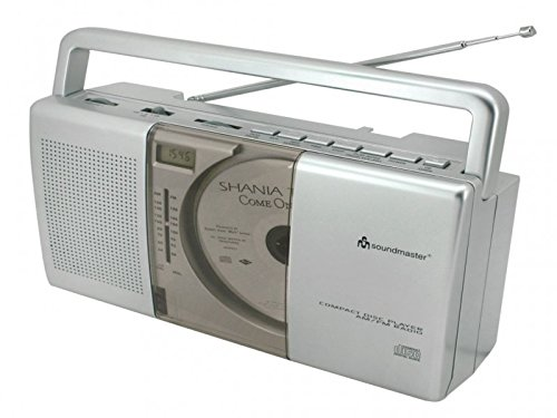 Soundmaster RCD1150 MW und UKW-Kofferradio mit Vertikal-CD-Spieler und Uhr (Uhr Mit Cd-player)