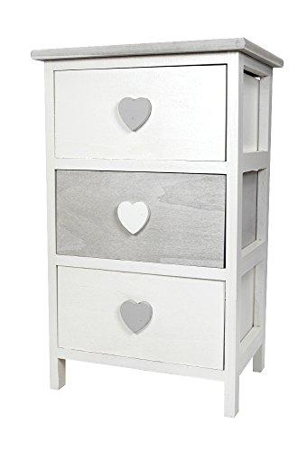 Badezimmer-schrank-schublade (Holz Schrank weiß / grau mit Herz-Griffen mittel - 57cm)
