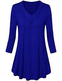 Hevoiok Langarmshirt Damen Herbst Sommer Fashion Casual V-Ausschnitt  Pleated Top T Shirt Blusentop Fraun Lange Ärmel… 49d4104216