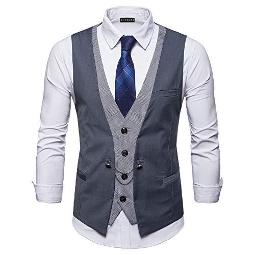 YCUEUST Chaleco Hombre de Vestir Traje Boda Ceremonia Waistcoat Blazers Sin Mangas Gris x-Large