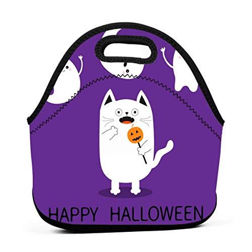 Lunch-Taschen für Damen, Halloween-Motiv, erschreckte Katze, Mädchen, wiederverwendbar, Snack-Taschen, süßes Kleinkind-Lunchtasche, Boxen, 3D-Druck, kleine Handtaschen