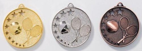 3 Tennis-Medaillen mit Bändern und 3 Tennis-Anstecknadeln (Sticker) 9237gsb