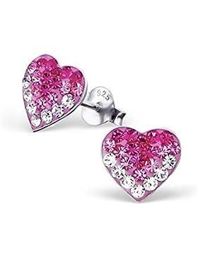 GH1a Pink Weiss Kristall Herz Ohrstecker 925 Echt Silber Ohrringe Geschenkidee z001