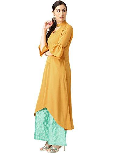 Libas Women's Straight Crepe Salwar Suit Set (5343_Yellow_Small)