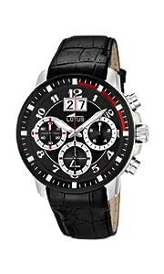 Reloj cronógrafo Lotus 10116/3 de cuarzo para hombre con correa de piel, color negro