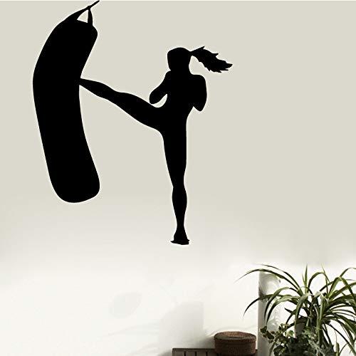 TYLPK Weibliche Boxen Gym Wandaufkleber Abnehmbare Vinyl Aufkleber Gym Dekoration Fitnessraum Home Wand Art Deco Wandaufkleber braun 58X71 CM -