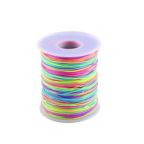ManYee Elastisch Perlenschnur 1mm Bunte Elastische Faden Rund Gummiband Elastische Schnur Regenbogen Beading Thread für Kinder Schmuck Basteln Perlen Armband 100 Meter Lang