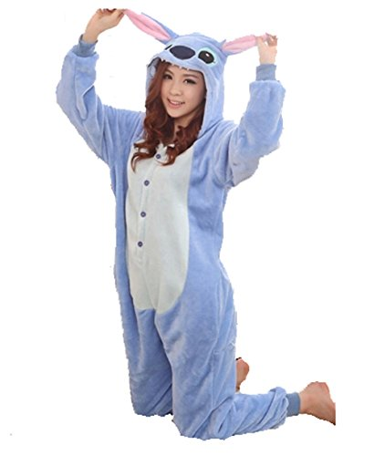 Winter Warm Flannel Onesie Pajamas Adult Unisex One Piece Blue Stitch Pajama