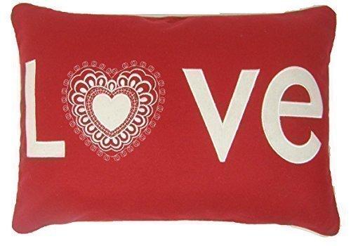 Weihnachten Love Rot Weiß Bestickt Wollmischung Boudoir Kissenbezug 35 X 50cm -