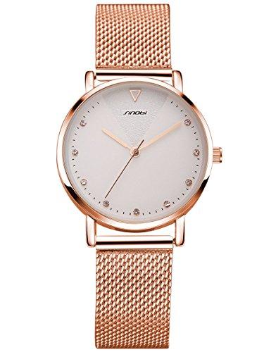 Alienwork orologio donna acciaio inossidabile oro rosa analogico quarzo bianco impermeabile strass brillanti elegante