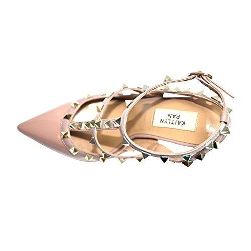 Kaitlyn Pan Damen Clogs & Pantoletten Nude Patent/Nude Straps/Gold Studs