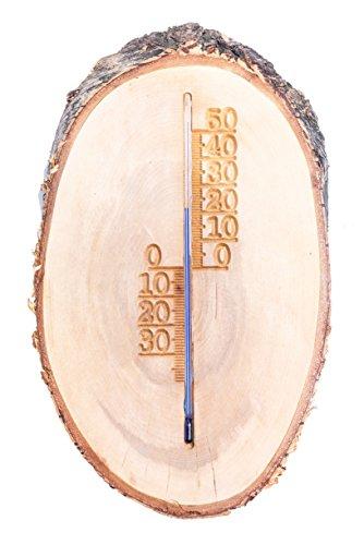 odukte Holz Analog Rustikal Thermometer, Außen/Innen, tolle Deko, jedes Stück Original/Handarbeit, ausnahmes Geschenk ()