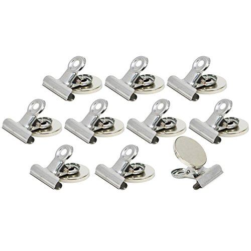 com-four® 10x Kühlschrankmagnet mit Klammer, starker Neodym Magnet mit Clip für Haushalt und Büro, 37 x 30 x 22 mm (Nickel mit Neodymmagnet - 10 Stück) -