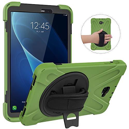 MoKo Hülle für Samsung Galaxy Tab A 10.1, Stoßfeste Haltbare Schutzhülle mit 360 Grad drehbarem Ständer & Vollschutz Handschlaufe für Galaxy Tab A 10.1