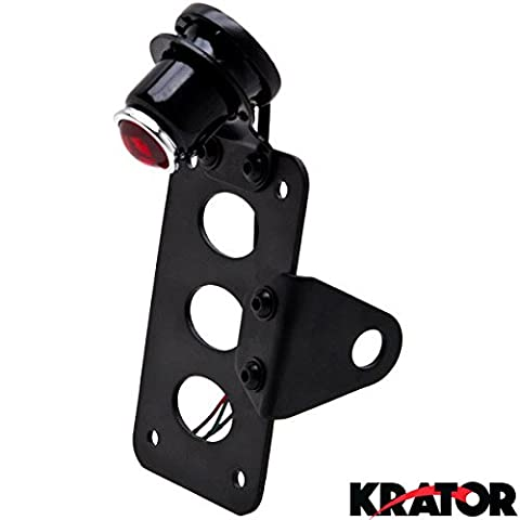 Krator® Black Side Axle Mounted Verticle / Horizontal License Plate Assembly with Integrated Taillight and Brake Light and License Plate Light Enhance your Bike, Chopper, Cruiser