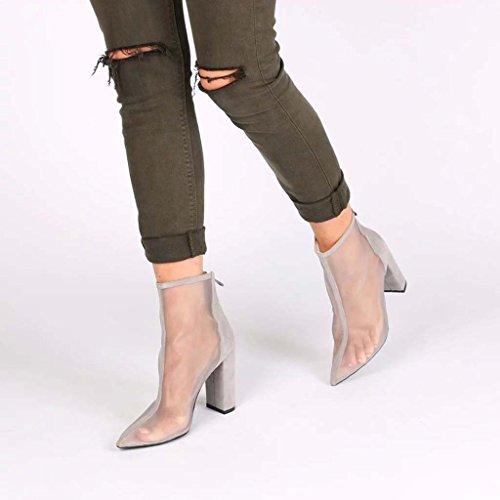 SHEO sandales à talons hauts Maillot de dames avec sandales grossières Sandales pointues respirantes Talons hauts ( Couleur : Gris , taille : 46 ) Gris