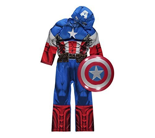 Official Marvel licensed Captain America fancy dress costume 7-8 years with Shield & Mask, Made for George Collection by Marvel for (Kostüm Captain America Old)