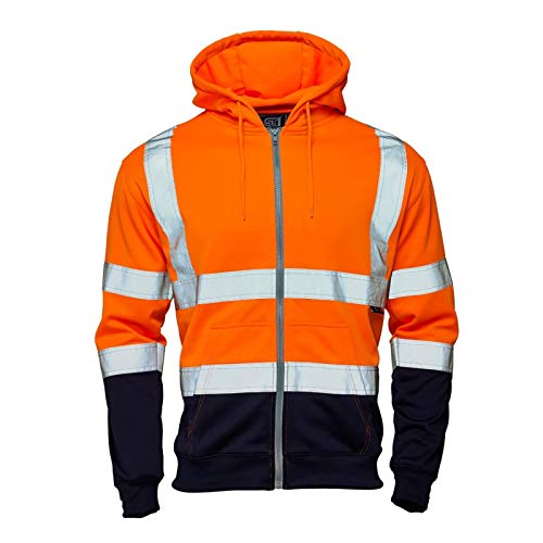 Price comparison product image MyShoeStore Hi Vis Viz 2 Two Tone Hoody Sweatshirt High Visibility Workwear Jumper Reflective Tape Band Work Fleece Safety Sweat Shirt Warm Security Jacket Work Wear Top(Zip Hoody Orange Navy, 4XL)