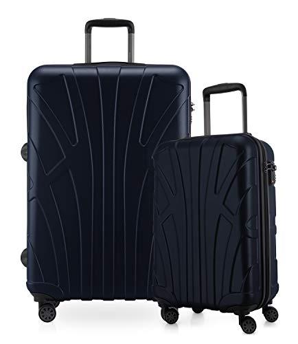 Suitline - 2-teiliges Koffer Set - Leichtes Handgepäck 55cm für alle Airlines + Check-In Reisekoffer 75cm, 4 Rollen, TSA Schloss, Dunkelblau