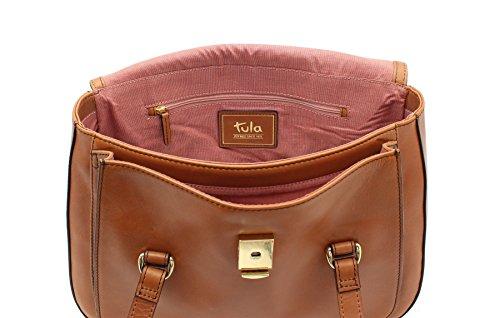 Leather Tote Tula BELLA Collection con spalline Gemelle 8154 Tan Tenné