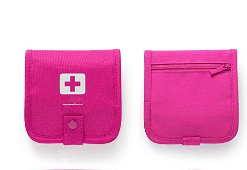 Qearly Neu Design Portable First Aid Basic Erste Hilfe Kit Medicine Tasche-Rose rot