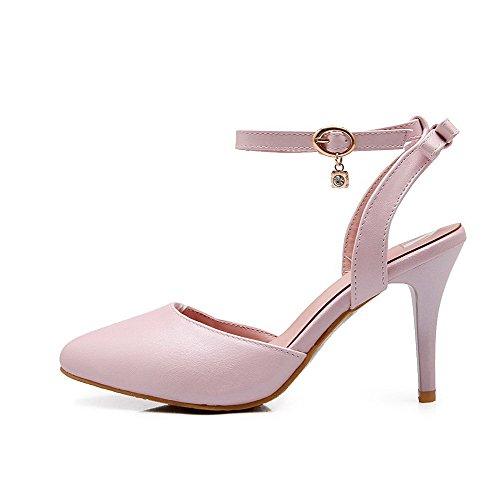 AllhqFashion Damen Schnalle Weiches Material Schließen Zehe Sandalen Mit Hohem Absatz Pink