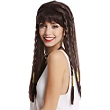 WIG ME UP ® - WG-7031-ZA2 Peluca mujer Halloween Carnaval largo castaño oscuro flequillo rayas trenzados Cleopatra cortesana harén 1001 Noches