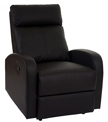 Chaise de salon en Polyuréthane coloris noir - Dim : H 100 x L 75 x P 96 cm -PEGANE-