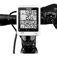 Vkaiy Ciclocomputador, Cuentakilómetros IPX6 Impermeable Multifuncional - Ordenador para Bicicleta con Gran Pantalla LCD, Incorporado, Sensor 3D, Distancia/Tiempo/ Temperatura de Seguimiento (Blanco)