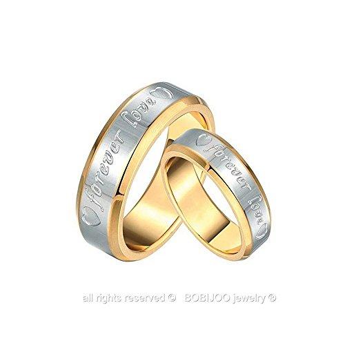 BOBIJOO Jewelry - Alliance Bague Anneau Doré à l'Or Fin Acier Inoxydable Mariage Fiançaille Forever Love Couple Au choix - 60 (9 US), Femme Femme