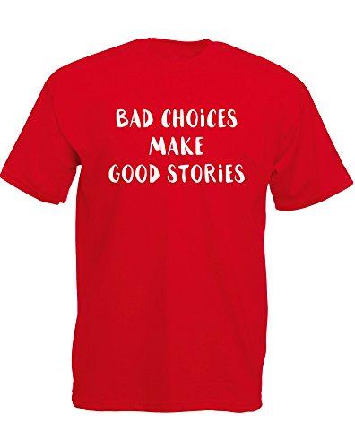 Brand88 - Brand88 - Bad Choices, Mann Gedruckt T-Shirt Rote/Weiß