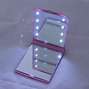 Pink - HOT Sale !!!!!! Girl Compact Hand Cosmetic Makeup Pocket Mirror with 8 LED Light