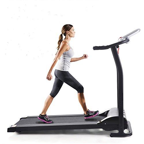 begorey Mini elektro Laufband 1.5HP Fitness Sport Laufband klappbar Tretmühle Training Übung Laufgerät Fitnessstudio Home Office Dimension: 125 x 59,9 x 107cm(Schwarz)