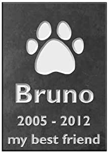 "Personalised Engraved Pet Memorial Sign (5.5"" x 4"") - Dog Paw"