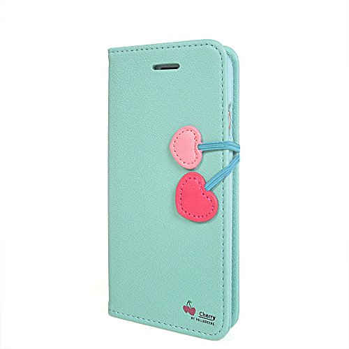 iPhone 6 Coque,COOLKE [Pink] Flip Case PU Etui Housse Coque Cover pour Apple iPhone 6 (4.7 inch) Aqua