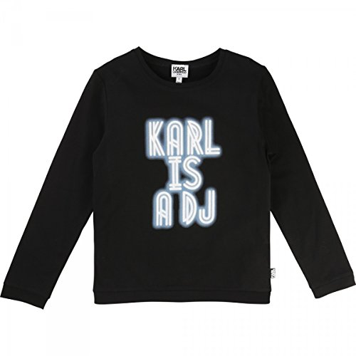 Karl Lagerfeld - T-Shirt Manches Longues Noir - 6 Ans, Noir
