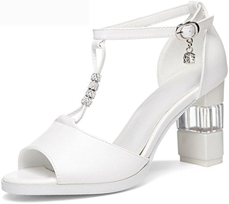 AJUNR Moda/elegante/Transpirable/Sandalias Ropa de mujer de verano de Roma nuevo estilo grueso talon tacon alto... -