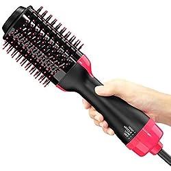 Brosse Lissante Chauffante Ionique, sèche-cheveux en une étape 3 en 1 pour salon Ion négatif Lisseur à cheveux et peigne frisé pour tout type de cheveux avec fonction anti-brûlure