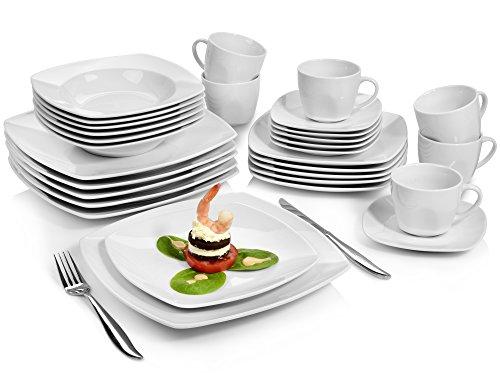 Sänger Kombiservice \'Markant\' 30 teilig aus Porzellan | Geschirrset beinhaltet Speise-, Suppen-, Desserttellern sowie passende Tassen (175 ml) und Untertassen | Geschirrservice für bis zu 6 Personen