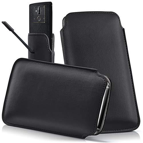 moex OUKITEL C4 | Hülle Schwarz Sleeve Slide Cover Ultra-Slim Schutzhülle Dünn Handyhülle für OUKITEL C4 Case Full Body Handytasche Kunst-Leder Tasche