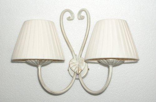 Lampada applique da parete doppia in ferro bianco verniciato