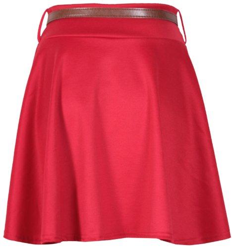 Da donna tinta unita vita staccabile con cintura da donna elasticizzato a campana Flippy corto Pattinatrice maglia minigonna Red