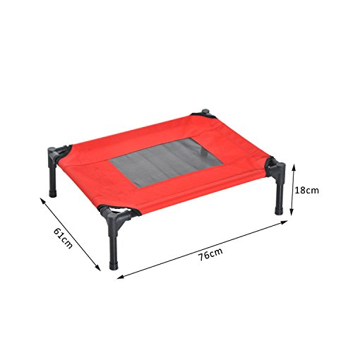 PawHut-Elevated-Pet-Bed-Portable-Camping-Raised-Dog-Bed-w-Metal-Frame-Black-and-Red-Medium