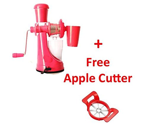 (Free Apple Cutter) Fruit And Vegetable Juicer With Steel Handle And Waste Collector (Multicolor)