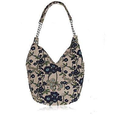 Mode pastorale L.'s West Frauen style Perlen Tasche handgefertigte Leinen Leinen Beutel Blue