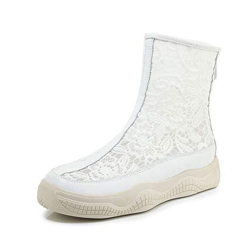 MENGLTX High Heels Sandalen 2019 Neue Ankunft Frauen Stiefel Aushöhlen Sommer Stiefel Runde Zehe Flache Plattform Stiefel Reißverschluss Air Mesh Mode Stiefel Frau 6 Weiß (Flache Zehe Stiefel Frauen)