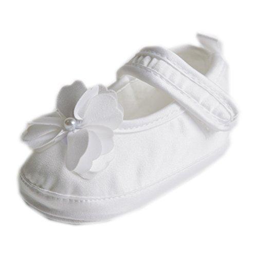 Festliche Taufschuhe Babyschuhe Ballerinas Satin Weiß Blume Gr. 17 Modell 6352/307 -